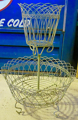 Used Wire Shabby Chic Planter Plant Stand Floral Rack 2 Tier Old Metal