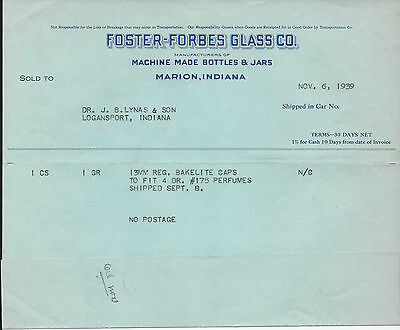 1939 Billhead Marion Indiana Foster Forbes Glass Company