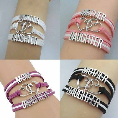 Fashion Womens Lovely Knit Bracelet Mom&Daughter Love Family Stylish Jewelry