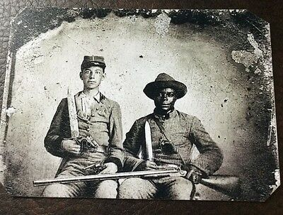 Sergeant A.M. Chandler and Silas Chandler (family slave) Tintype C034NP