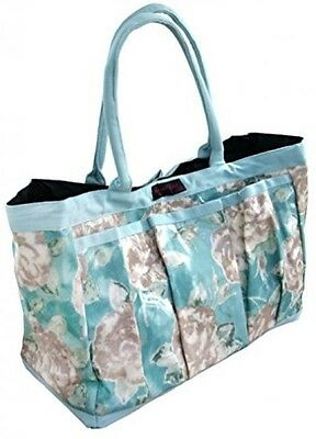 Ragged Rose GT-TRU11-OPR0C Garden PVC Trug Bag With Taupe Roses - Duckegg Blue
