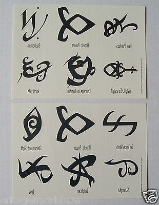 The Mortal Instruments City of Bones Rune Symbols 12 Temporary Tattoos in Total