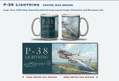 P-38 Lightning - Large 12 oz Full Color Coffee Mug