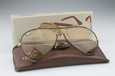 !!!N.O.S!!! Ray Ban * LARGE METAL II BROWN LEATHER CHANGEABLE BROWN L9977 62mm