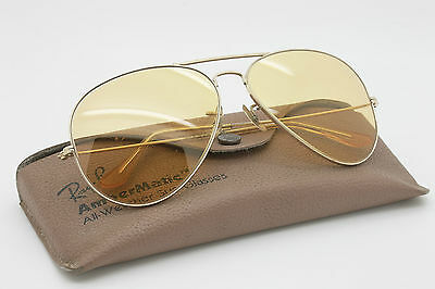 70' Vintage Ray-Ban * AVIATOR LARGE METAL *62 B&L U.S.A AmberMatic All-Weather