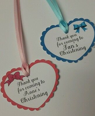 Personalised Christening/ Baptism/ Birthday/Baby Shower Heart Style Thank U Tags