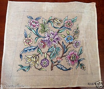 Penelope Needlepoint Tapestry Canvas Queen Anne Floral Seat Cover 4127 Vintage