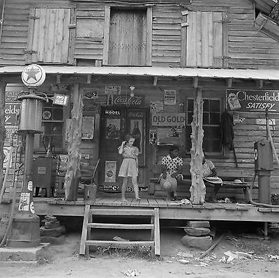 """1939 Old Photo, Country Store, Tobacco, Advertisement, Coke, 16""""x16"""", Vintage"""
