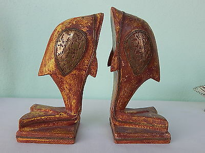 Dolphins fish antiques bookends wood with brass inlays