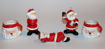Lot of 5 Vintage Christmas Ceramic Santa Figurines and Candle Cups Made in Japan
