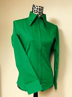 Fitted Zip Front Shirt - Green
