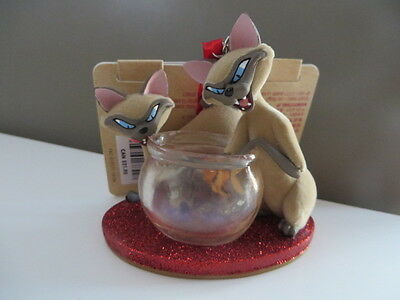 New DISNEY Si and Am Cats / Lady and The Tramp Sketchbook Christmas Ornament