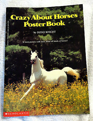1990 Crazy About Horses Poster Book by Dodo Knight Illustrated Booklet