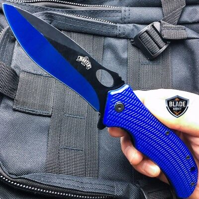 "8.25"" Military Assisted Spring Tactical Pocket Hunting Folding OPEN Knife - Blue"