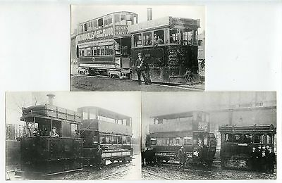 STEAM TRAMS DRIVER + CONDUCTOR FACES CLEAR SALTLEY ROCHDALE etc 3 PHOTOS 1880-19