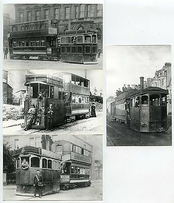 STEAM TRAMS DRIVER + CONDUCTOR FACES CLEAR HUDDERSFIELD etc 4 PHOTOS 1880-1910