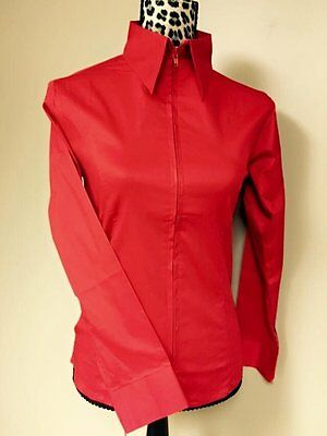 Fitted Zip Front Shirt - Red
