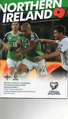 NORTHERN IRELAND v AZERBAIJAN11th NOVEMBER 2016 WITH TEAM SHEET