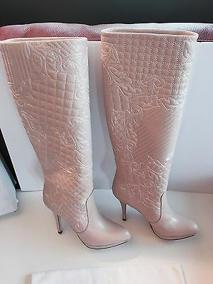 8ba87e0d7e9 New Versace Light Pink Leather Embroidered Knee High Booties Boots Size 39 9