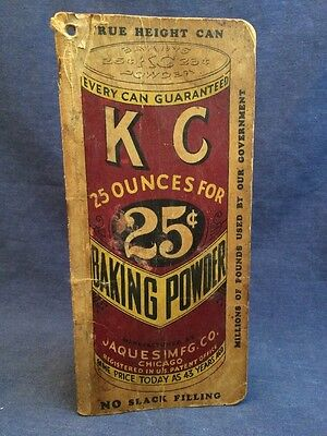 KC Baking Powder Advertising Notebook Jaques Mfg Co Chicago Vintage Can Recipe