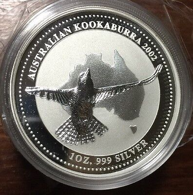 2002 Australia Kookaburra 1 oz. Silver Coin - BU direct from Perth Mint