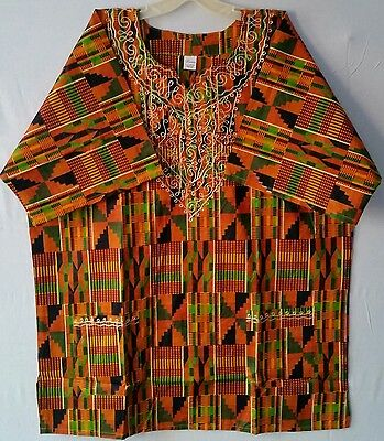 Dashiki African Men Women Kente Shirts Tribal Traditional Ethnic Blouse One Size