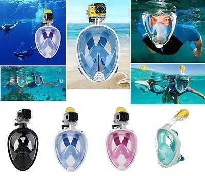 2016 Swimming Full Face Mask Surface Diving Snorkel Scuba for GoPro S/M/L/XL
