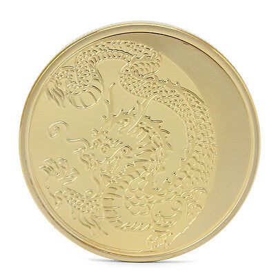 Russia Lunar Zodiac Year of the Dragon Gold Plated Commemorative Coin Token