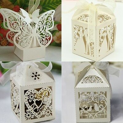 1-100PCS Luxury Wedding Party Sweets Cake Candy Gift Favour Favors Boxes