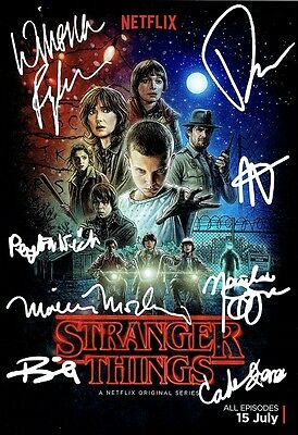 Stranger Things - A3 Signed x8. Winona Ryder, David Harbour, Millie Bobby Brown