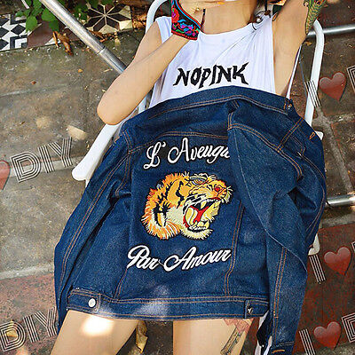 Patches Embroidery Tiger letter sew Applique clothing accessory jacket sweater