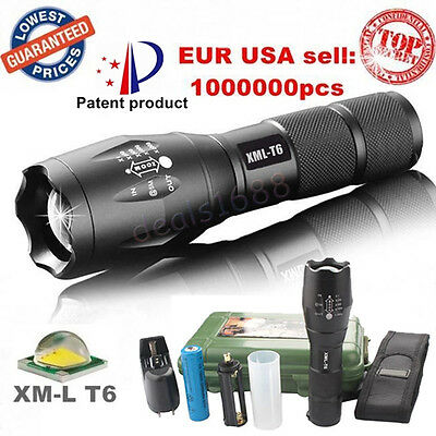 8000LM X800 Zoom XM-L T6 LED G700 Tactical Flashlight+18650 Battery+Charger+Case