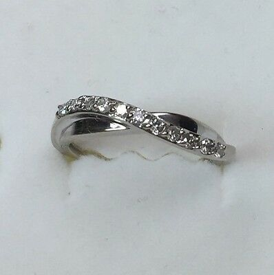 1/5 ct natural (REAL) DIAMOND ladies wave band ring SOLID white GOLD