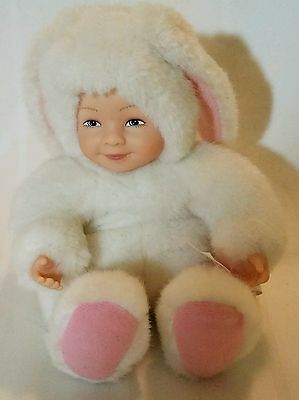 1997 Anne Geddes Plush Baby Doll Bunny Rabbit White Pink Small Babyface Kids