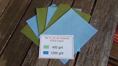 6 sheets 3M Tri-M-Ite Imperial polishing paper set + 3 each 400 and 1200 Grit