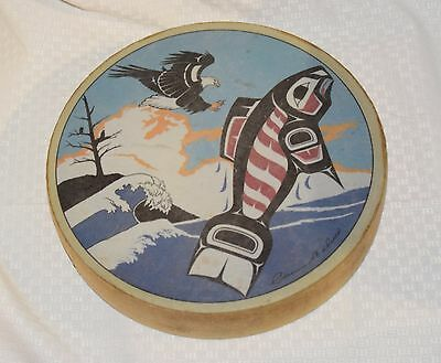 "Native Haida Clarence Wells 11"" Eagle & Salmon Hand Drum Pacific Nw"