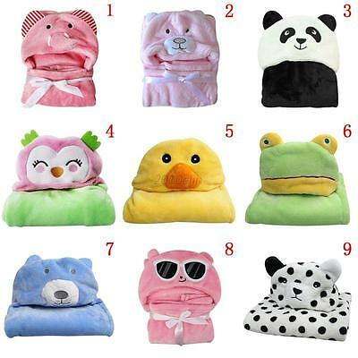 Cute Infant Baby Soft Flannel Hooded Blanket Bath Towel Kids Animal Bathrobe NEW