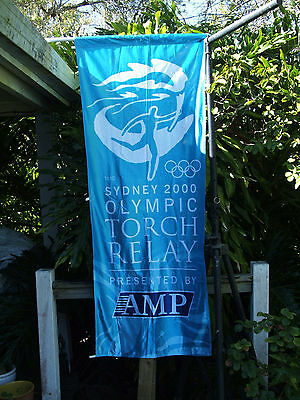 Sydney 2000 Olympic Torch Relay Banner / Flag  -  Blue AMP  - RARE ITEM