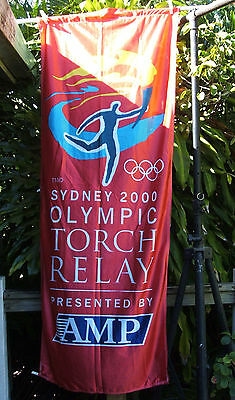 Sydney 2000 Olympic Torch Relay Banner / Flag  -  Red AMP  - RARE ITEM