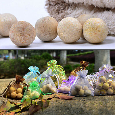 12/20pcs Natural Camphor Balls Wooden Bug Clothes Repellent Pest Moth Wardrobe