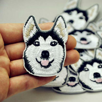 ONE Husky Dog Embroidered Patch Iron On Patch DIY Sewing Applique Badge Clothes