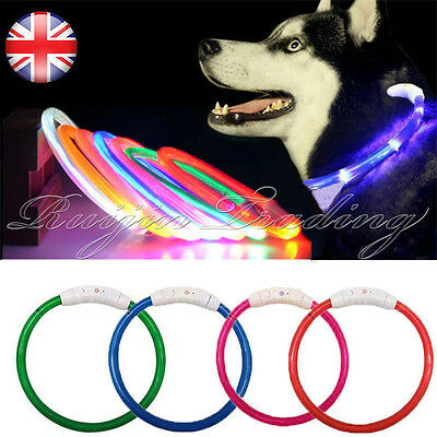 LED Pet Dog Collar Rechargeable USB 70cm Adjustable Flashing Safety In Night Fit