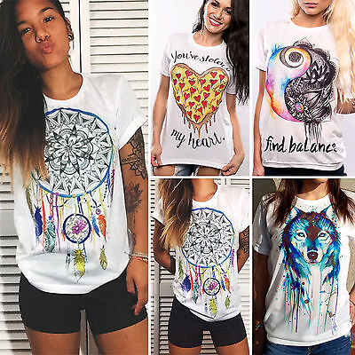 Womens Ladies Summer Tops Loose Short Sleeve Graphic T-shirt Blouse UK Size 6-14