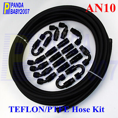An10 10An -10 Teflon Braided Oil Fuel Line E85 Ptfe+Fitting Hose End 32.8Feet Bk