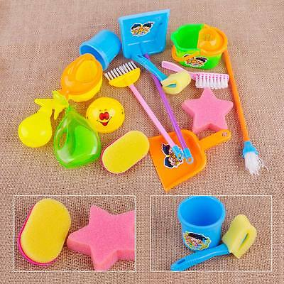 Kids Mini Cleaning Toy Set Pretend Play House Cleaning Dustpan Broom Mop Brush
