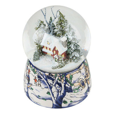 Snow &tree house Musical Water Snow Globe Music Box Rotating Xmas Crafts Gift