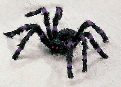 2' Purple/Black Hairy Spider Huge Giant Halloween Haunt Prop Decoration