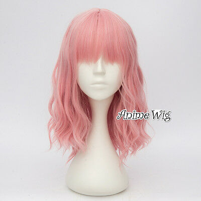 Pink Heat Resistant Curly Anime Long Women Girls 35CM Cosplay Full Lolita Wig