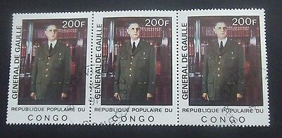 Congo-1977-Charles De Gaulle-200F Block of Three-Used