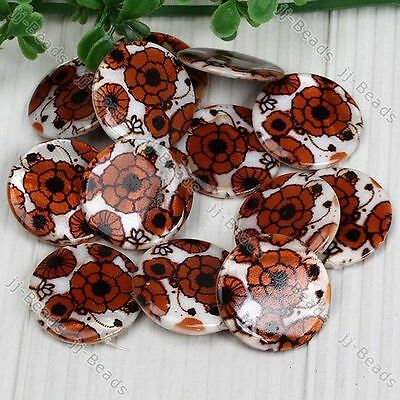 30mm Shell Patterned Coin Disc Button *Flower* Beads